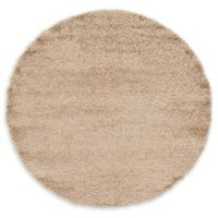 Unique Loom Solid Shag 6' Round Powerloomed Area Rug in Taupe