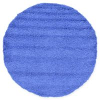 Unique Loom Solid Shag 6' Round Powerloomed Area Rug in Periwinkle