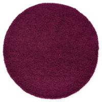 Unique Loom Solid Shag 6' Round Powerloomed Area Rug in Eggplant