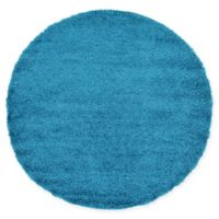 Unique Loom Solid Shag 6' Round Powerloomed Area Rug in Turquoise