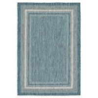 Unique Loom Soft Border Outdoor 4' X 6' Powerloomed Area Rug in Teal