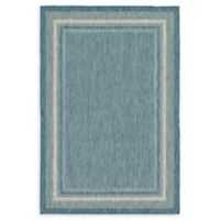 Unique Loom Soft Border Outdoor 6' X 9' Powerloomed Area Rug in Teal