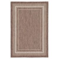 Unique Loom Soft Border Outdoor 4' X 6' Powerloomed Area Rug in Brown