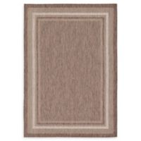 Unique Loom Soft Border Outdoor 7' X 10' Powerloomed Area Rug in Brown