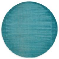 Unique Loom Solid Tribeca 5' Round Powerloomed Area Rug in Teal