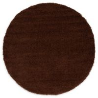 Unique Loom Solid Shag 6' Round Powerloomed Area Rug in Chocolate Brown