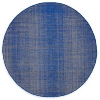 Unique Loom Solid Tribeca 5' Round Powerloomed Area Rug in Navy