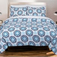 Nouvelle Home Scandi Floral 3-Piece Full/Queen Comforter Set in Blue/White