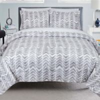 Nouvelle Home Painted Chevron 2-Piece Full/Queen Comforter Set in Grey/White
