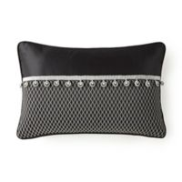 Rose Tree Valencia Embroidered Oblong Throw Pillow in Platinum/Black