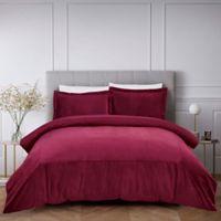 French Velvet 3-Piece Full/Queen Comforter Set in Wine