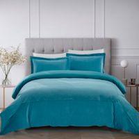 French Velvet 3-Piece Full/Queen Comforter Set in Spa