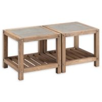 Southern Enterprises Cleary 2-Piece Reclaimed Wood and Concrete Bunching Cocktail Table Set