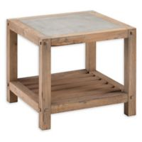 Southern Enterprises Cleary Reclaimed Wood and Concrete End Table