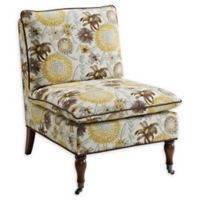 Linon Home Peggy Flower Slipper Chair in Brown