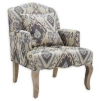 Linon Home Ikat Arm Chair in Grey