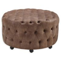 Linon Home Cami Round Rolling Ottoman in Brown
