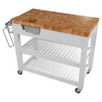Chris U0026 Chris Chef Kitchen Work Station Cart In White