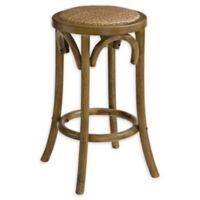 Linon Home Rae 24-Inch Rattan Backless Bar Stool in Walnut