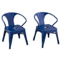 Acessentials® Metal Chairs in Navy (Set of 2)