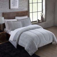 Faux Fur 3 Piece King Comforter Set In Arctic Grey