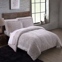 Faux Fur 3-Piece Full/Queen Comforter Set in Nordic Taupe