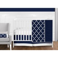 Sweet Jojo Designs Trellis 11-Piece Crib Bedding Set in Navy Blue/White