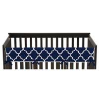 Sweet Jojo Designs Trellis Long Crib Rail Guard Cover in Navy Blue/White