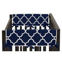 Sweet Jojo Designs Trellis Short Crib Rail Guard Cover in Navy Blue/White (Set of 2)
