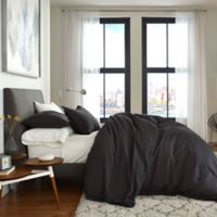 Flatiron® Washed Linen-Blend Queen Duvet Cover in Charcoal