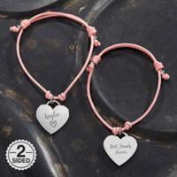 Sliding Knot 6-Inch Heart Charm Friendship Bracelet in Pink