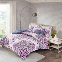 Amari 4-Piece Reversible King/California King Comforter Set in Indigo/Purple