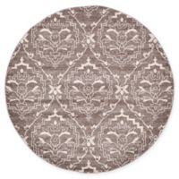 Unique Loom Joyous Damask 6' Round Powerloomed Area Rug in Light Brown