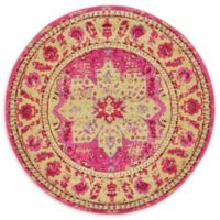 Unique Loom Oasis Palazzo 6' Round Powerloomed Area Rug in Pink