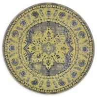 Unique Loom Oasis Palazzo 6' Round Powerloomed Area Rug in Gray
