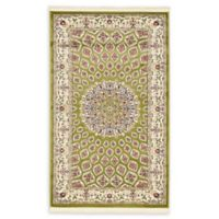 "Unique Loom Nottingham Nain Design 3'3"" X 5' Powerloomed Area Rug in Green"
