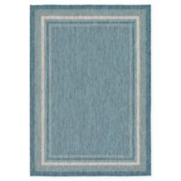 Unique Loom Soft Border Outdoor 7' X 10' Powerloomed Area Rug in Teal