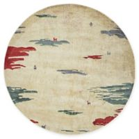 "Native Collection Tribal Modern 5'5"" Round Area Rug in Cream"