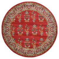Unique Loom Savoy Nomad 6' Round Rug in Red
