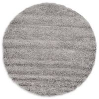Unique Loom Solid Shag 6' Round Powerloomed Area Rug in Cloud Gray