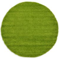 Unique Loom Solid Shag 6' Round Powerloomed Area Rug in Grass Green
