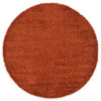 Unique Loom Solid Shag 6' Round Powerloomed Area Rug in Terracotta