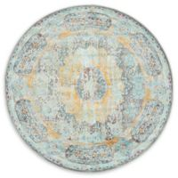 "Unique Loom Raul Havana 5'5"" Round Powerloomed Area Rug in Blue"