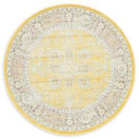 "Unique Loom Prado Havana 5'5"" Round Powerloomed Area Rug in Yellow"