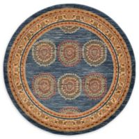 Unique Loom Provence Nomad 6' Round Powerloomed Area Rug in Blue
