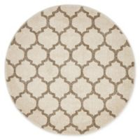 Unique Loom Philadelphia Trellis 3'3 Round Accent Rug in Beige/Tan