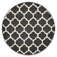 Unique Loom Philadelphia Trellis 3'3 Round Area Rug in Black