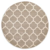 Unique Loom Philadelphia Trellis 6' Round Powerloomed Area Rug in Tan