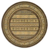 Unique Loom Pasadena Nomad 6' Round Powerloomed Area Rug in Brown