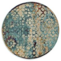 Unique Loom Pollack Arte 4' Round Powerloomed Area Rug in Blue